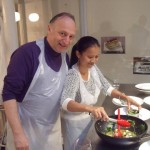 Trevor Emdon & wife get a cookery lesson