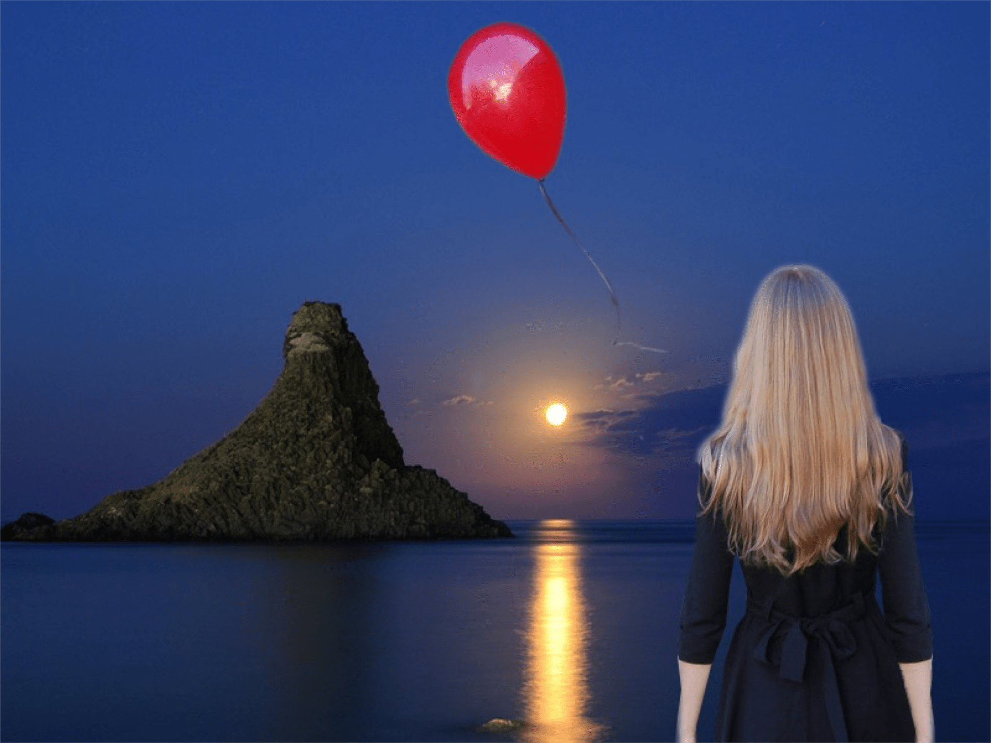 woman watching red balloon