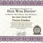 Trevor Emdon's Date With Destiny Certificate - Anthony Robbins