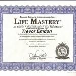 Trevor Emdon's Life Mastery Certificate - Anthony Robbins' Mastery University